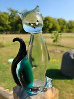 Murano Style Hand Blown Glass Siamese Cat Figurine Paperweight