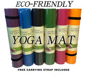 Yoga Mat 183cm x 61cm Non Slip Exercise Gym Camping Carry Straps Eco Friendly