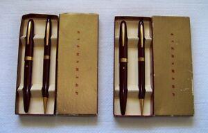 2 Sets Vintage EVERSHARP Burgundy/Wine Gold Trim BALLPOINT PEN & PENCIL w/Boxes