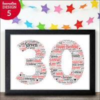 16th 18th 21st 30th 40th 50th 60th Birthday Personalised Word Art Gift Keepsake