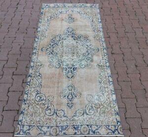 Anatolian Medallion Design Carpet Distressed Bohemian Handmade Runner Rug 3x7 ft