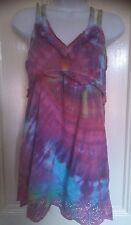 HIPPY BOHO TIE DYE GYPSY TOP BLOUSE HIPPIE BAY 12 SPIRAL RAINBOW 311f