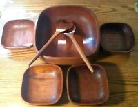 Teak Salad Bowl 7 Piece Set Genuine Wood Vintage  Bowls, tossing Spoon /Tong 10""