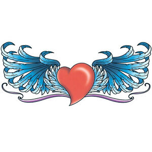 """""""Lower Back"""" Temporary Tattoo, Red Heart w/ Blue Wings, USA Made"""