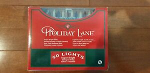 NEW Holiday Lane 50 count clear Christmas Lights Red White Blue White