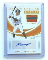 2019 Panini Immaculate Batting Stance CEDRIC MULLINS Autograph Relic Card SP /25
