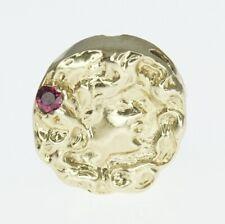 14K Yellow Gold Richard Glatter RGVS Slide Bracelet Charm Cameo Face Ruby