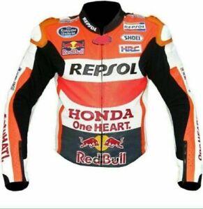 Honda Repsol One Heart Racing Motorbike Leather Biker Jacket (Cowhide 1.3 Thick)