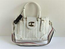 CAVALLI JUST CAVALLI Borsa-Wash White Leather Convertible Shoulder Bag MSRP $660