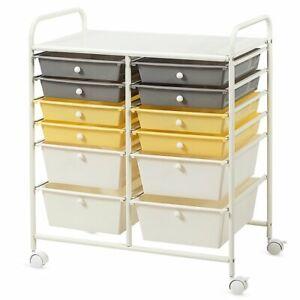12 Drawer Rolling Storage Cart Tools Scrapbook Paper Office School Organizer