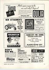 1963 PAPER AD Tru Scale Toy Farm Tractor T-401 Ouija Board Game William Fuld