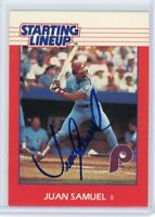 JUAN SAMUEL Autographed Signed 1988 Starting Lineup Baseball Card PHILLIES AUTO