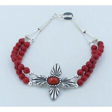 Orange Red Coral Cross Beaded Bracelet 2 Strand 925 Sterling Silver Genuine