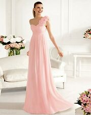 One-Shoulder Chiffon Bridesmaids Dress Party Evening Gowns Stock 6-16 Or Custom