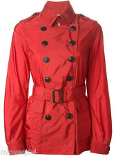 Burberry Brit Red BELTED Corta Trench Giacca Pioggia Nuovo Bnwt UK 6 IT 38 £ 396