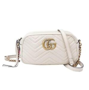 $1300 Gucci Marmont Calfskin Matelasse Small Gg Chain White Leather Shoulder Bag