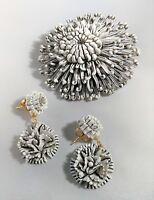 Vintage Brooch Dangle Earring Set White Wash Textured Flower Dandelion Florist