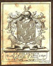 EX-LIBRIS  de Don Antonio ALVAREZ DE ABREU par Paul Minguet. Espagne.