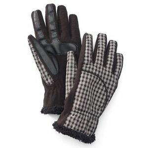 NEW Isotoner Women Gloves Black Leopard Plaid SmarTouch Touchscreen XS S M L $46