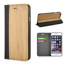 "Apple iPhone 6 6s 4.7"" cartera case wood grain madera patrón plegable estuche marrón claro"