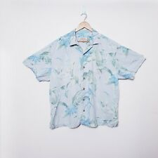 Tommy Bahama Mens 2XL XXL Blue Hawaiian Palms Floral Embroidered 100% Silk Shirt