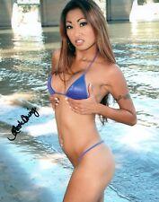 Nicole Oring Sexy Blue Bikini By The Water Signed 8x10 Photo Adult Model COA 67