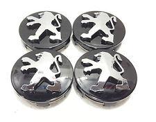 Peugeot Black Wheel Alloy Center Caps Set of 4 60 mm for 306,307,206,107,406 New