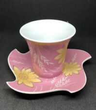 Espresso Turkish Cafe  ☕️ Cup and Saucer Gold  Pink Yellow White Flowers 🌸 New