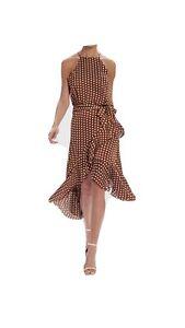 Pretty Woman Style Asymmetric Brown Polka Dot Dress Size 10/12