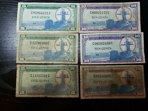 United States Military Payment Certificate 5,10, 50 cents,series 681 1969  qty 6