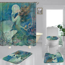 Undersea Mermaid Shower Curtain Bath Mat Toilet Cover Rug Bathroom Decor