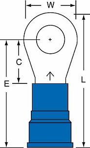 "3M 5/16"" Stud Size 6 AWG Nylon Insulated Brazed Seam Ring Terminal 100PK"