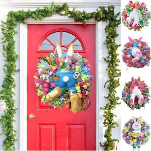 Easter Rabbit Wreath Decor for Front Door Bunny Butt Decor Welcome Plush Garland