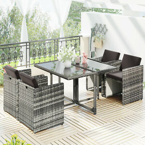 Rattan Dining Table and Chairs 4 Outdoor Rattan Furniture Set Lounge Set
