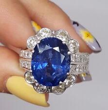 17 ct Estate 18K White Gold BURMA No Heat Oval Cut Blue Sapphire & Diamond Ring