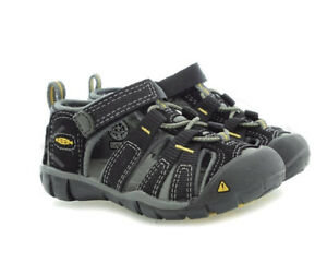 Keen Little Kid Size 7 Black Gray Seacamp II CNX-C Sandals Washable Water Shoes