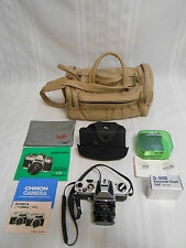 VINTAGE CHINON CS 35mm SLR CAMERA SET ~ LENS 2 FLASHES INSTRUCTIONS LEATHER BAG