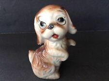 "Vintage Cocker Spaniel Puppy Dog Big Eyes figurine Ceramic 3.5"" Tall Sitting"
