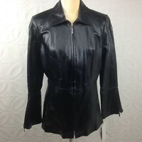 NWT Women's Terry Lewis Black Leather Tailored Fitted Full Zip Up Jacket Size M
