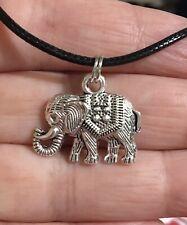 Silver Elephant Pendant Black Leather Necklace Men Or Women Nickel & Lead Free