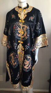 Esme 1960's Traditional Chinese Manchu Style  Dragon Print Robe Hand Stitched