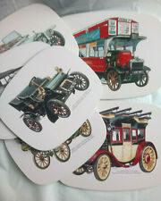 Vintage 6 Placemats Tin Coated Featuring Old Cars and Buses