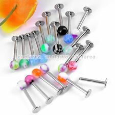 20x Mixed Steel Rainbow Bar Ball UV Top 16g Labret 16g Lip Ring Barbell Piercing