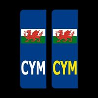2x CYM Welsh flag Sticker Badge Car Number Plate Vinyl UK Wales legal decal