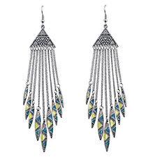 New Bohemia Style Tassels Chain Leaf Dangle Enamel Triangle Earring Stud Hook