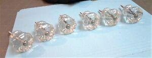 Set of 6 Vintage Clear Pressed Glass Drawer Knobs