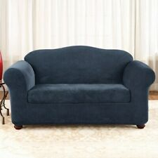 New Sure Fit Stretch Pique 2 piece waffle weave Sofa Slipcover in NAVY blue