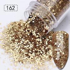 10ml Nail Art Glitter Powder Super Champagne Mixed Gold Silver Sequins Tips
