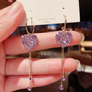 2021 Fashion Heart Tassel Crystal Earrings Hoop Drop Dangle Women Jewelry Gifts