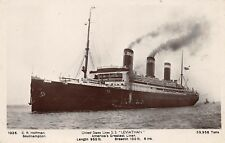 SS LEVIATHAN AT SEA & 1ST CLASS DINING SALOON, US SHIP LINE 2 RPPC's c 1920-30's